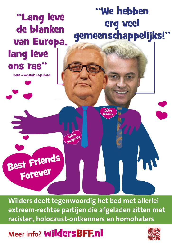 Dutch poster against Geert Wilders collaboration with the Italian Lega Nord